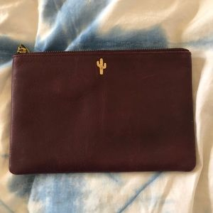 Maroon Leather Clutch from Madewell